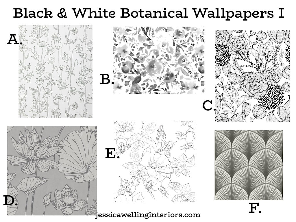 Black & White Botanical Wallpaper: collection of 6 floral wallpaper prints in black and white