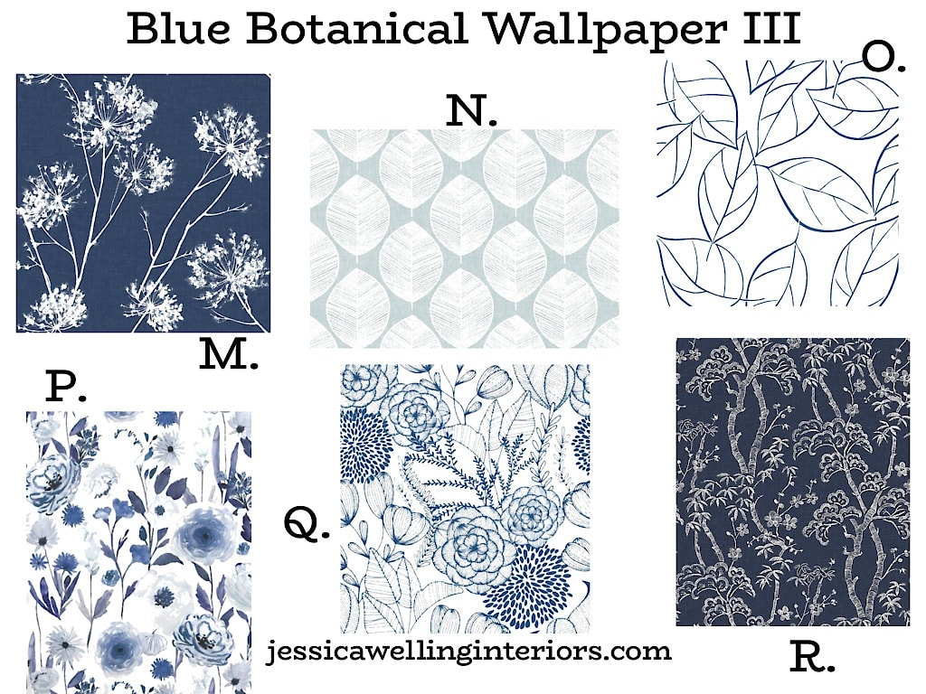 Blue Botanical Wallpaper III: 6 nature wallpaper patterns for modern home decor in blue and white