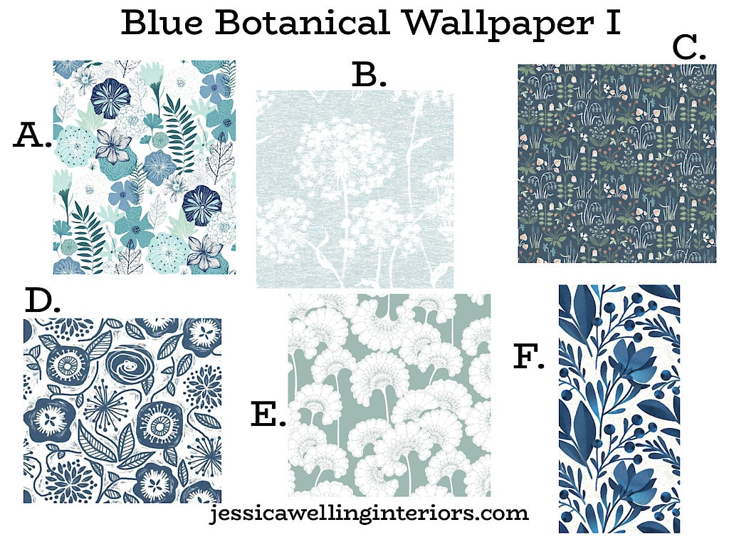 Blue Botanical Wallpaper I: collection of 6 floral wallpaper patterns in blues and whites