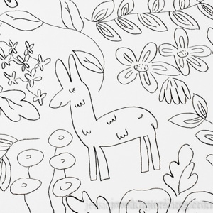 DIY faux wallpaper floral pattern with leaves and alpacas