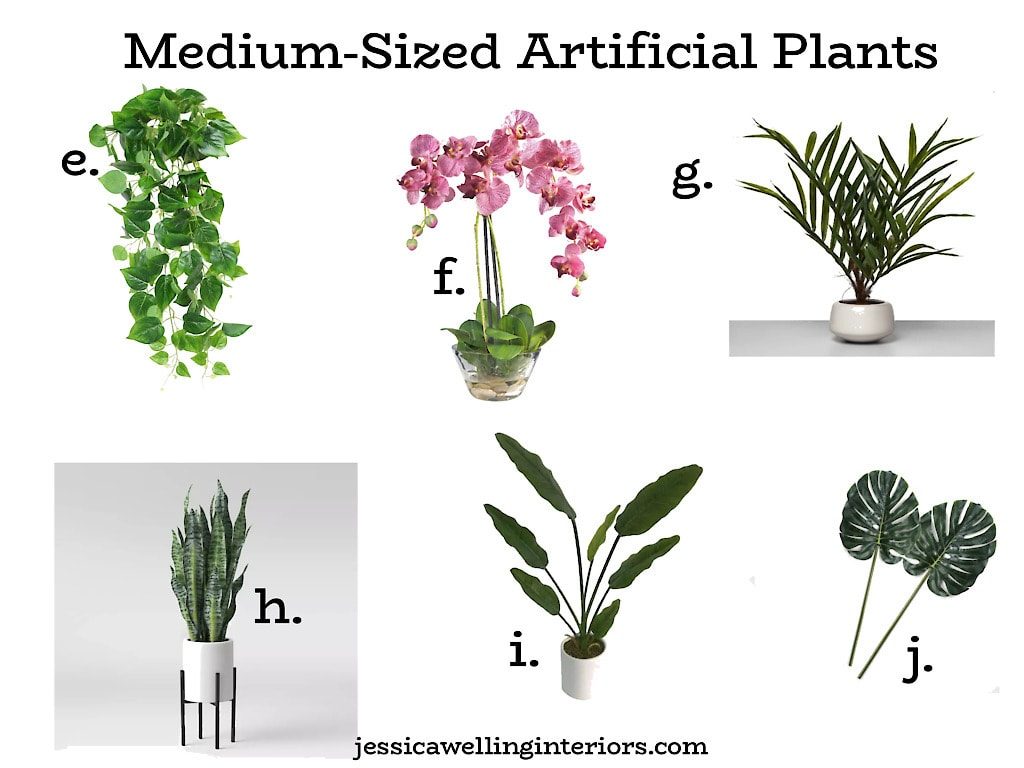 Medium-Sized Artificial Plants: collage of 6 faux plants for home decor