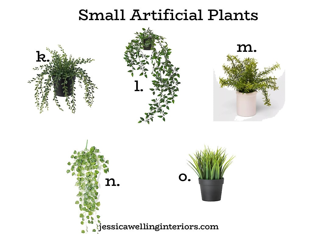 Small Artificial Plants: collage of 5 different fake plants in pots from Ikea, Amazon, and Target