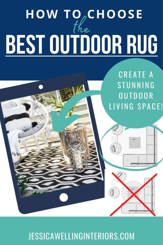 How to Choose the Best Outdoor Rug: Create a Stunning Outdoor Living Space: porch with a black and white patterned outdoor rug