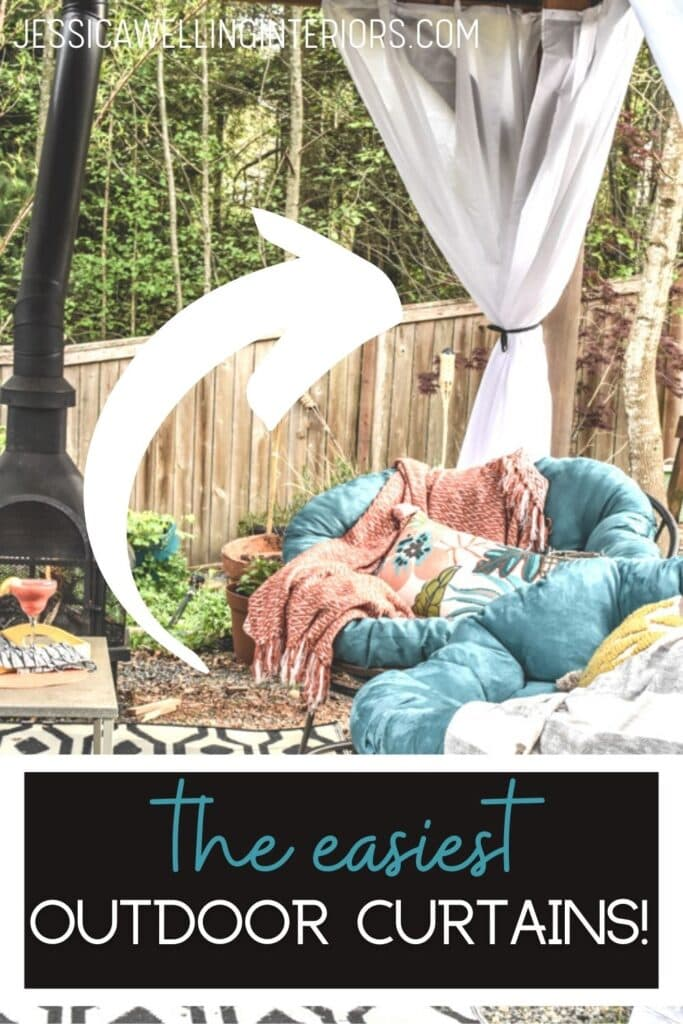 The Easiest Outdoor Curtains! outdoor living room with white curtains tied back, papasan chairs, and a fire pit