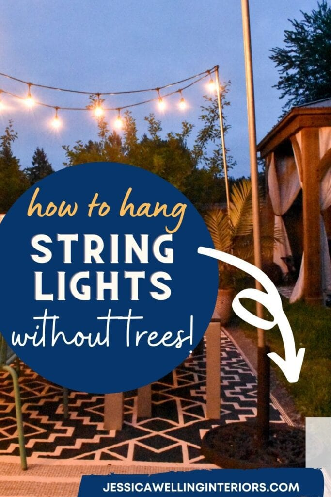 How to Hang String Lights Without Trees: photo of an easy DIY outdoor string light pole made from an umbrella stand and electrical conduit