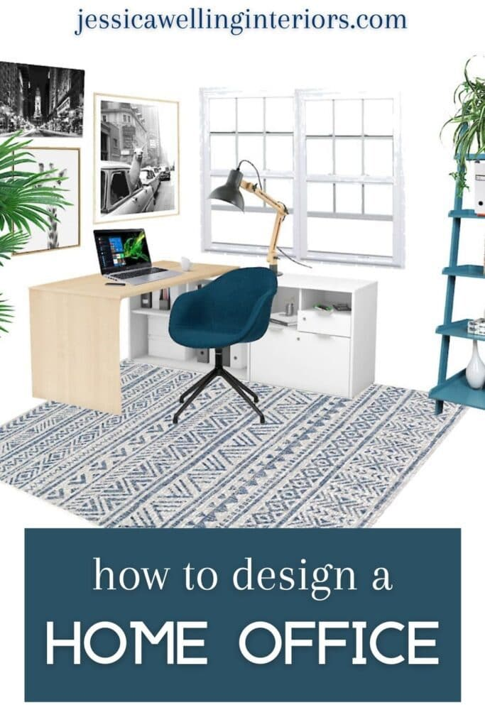 How to Design A Home Office: design rendering of a modern home office with a rug, desk, task chair, and bookcase