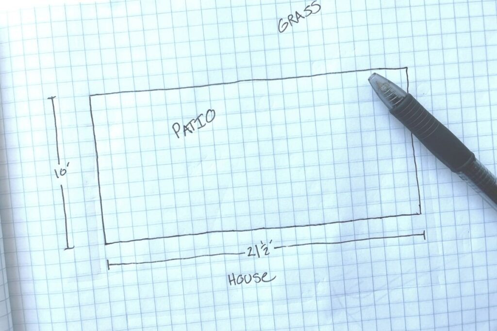 basic outline of a patio with dimensions on graph paper