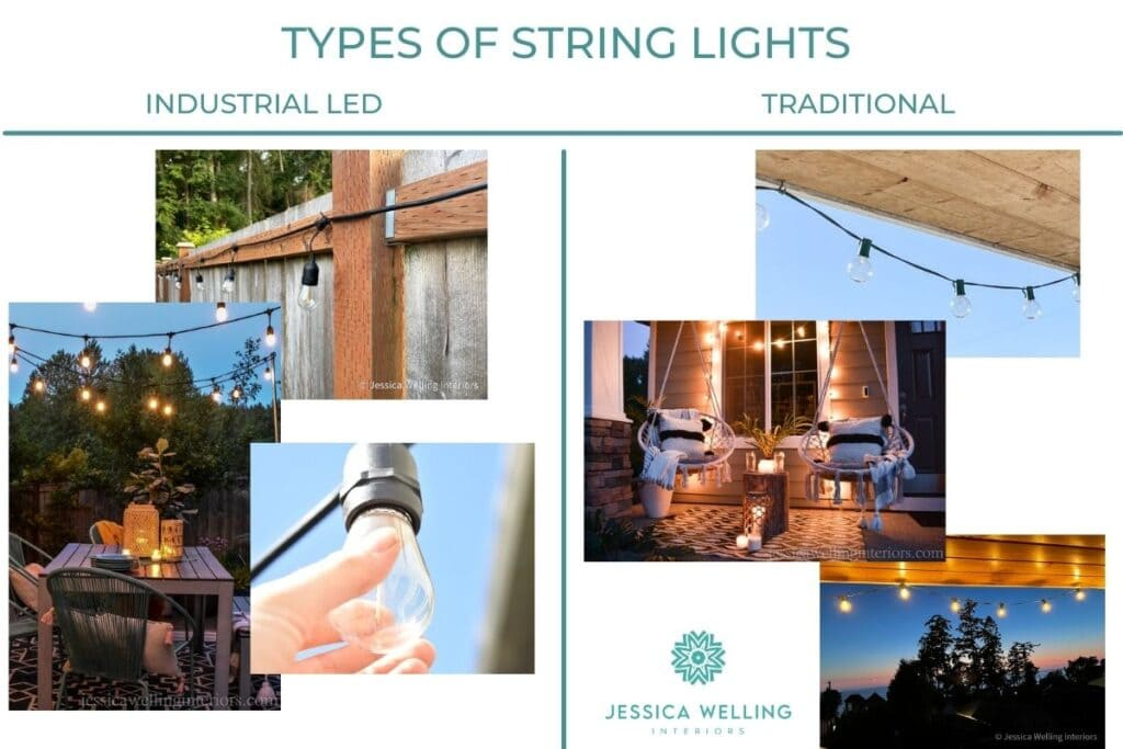 Types of String Lights: Industrial LED vs. Traditional collage of photos of heavey duty string lights and inexpensive traditional patio lights