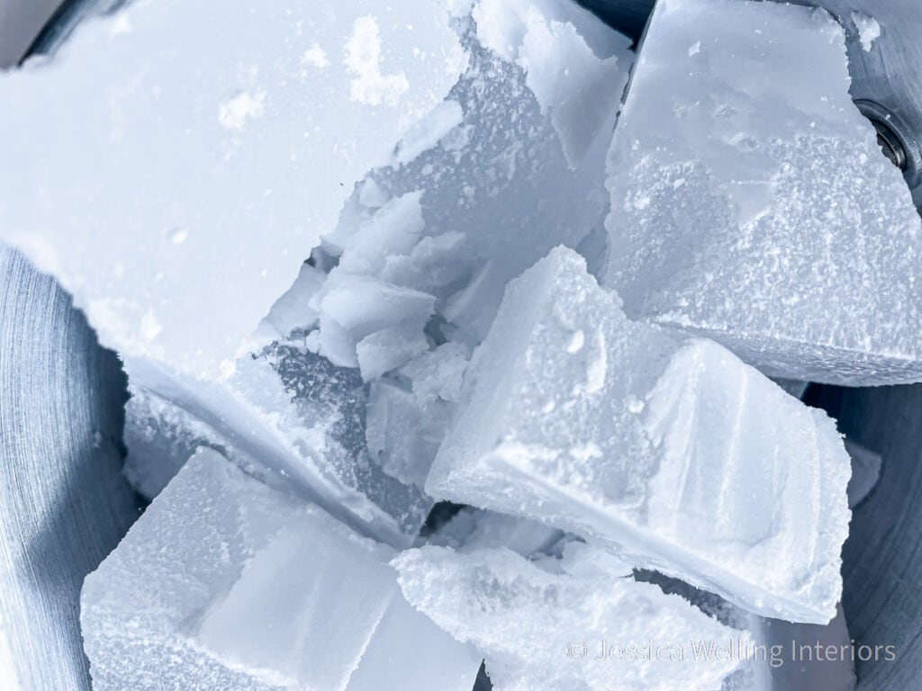 close-up of chunks of paraffin wax in a double-boiler, ready to be melted
