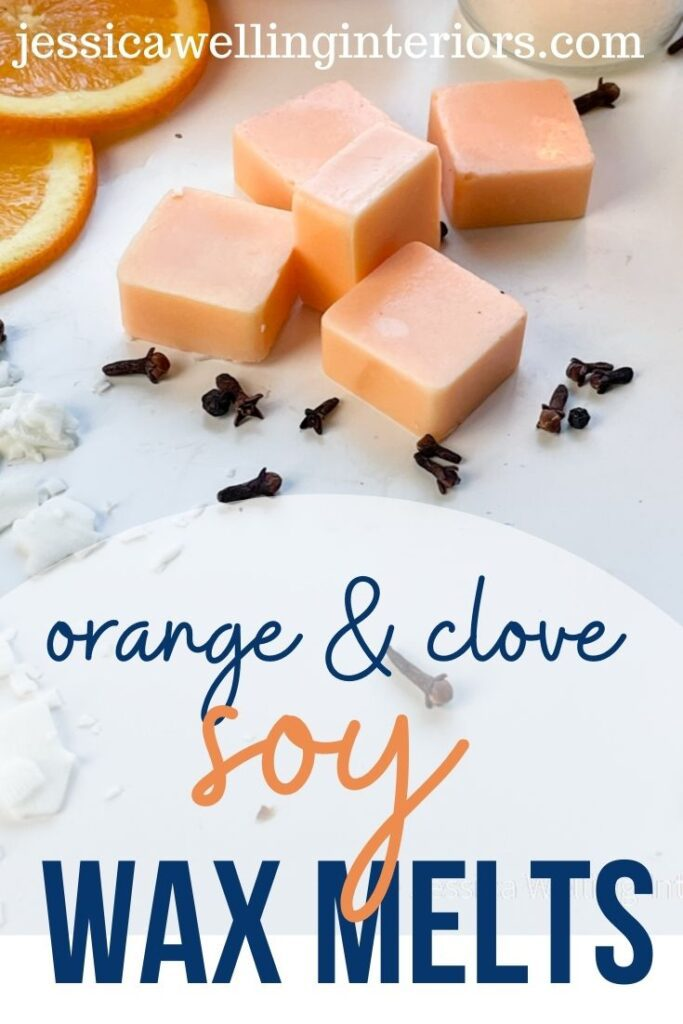 Orange & Clove Soy Wax Melts light orange wax melts with cloves, orange slices, and soy wax