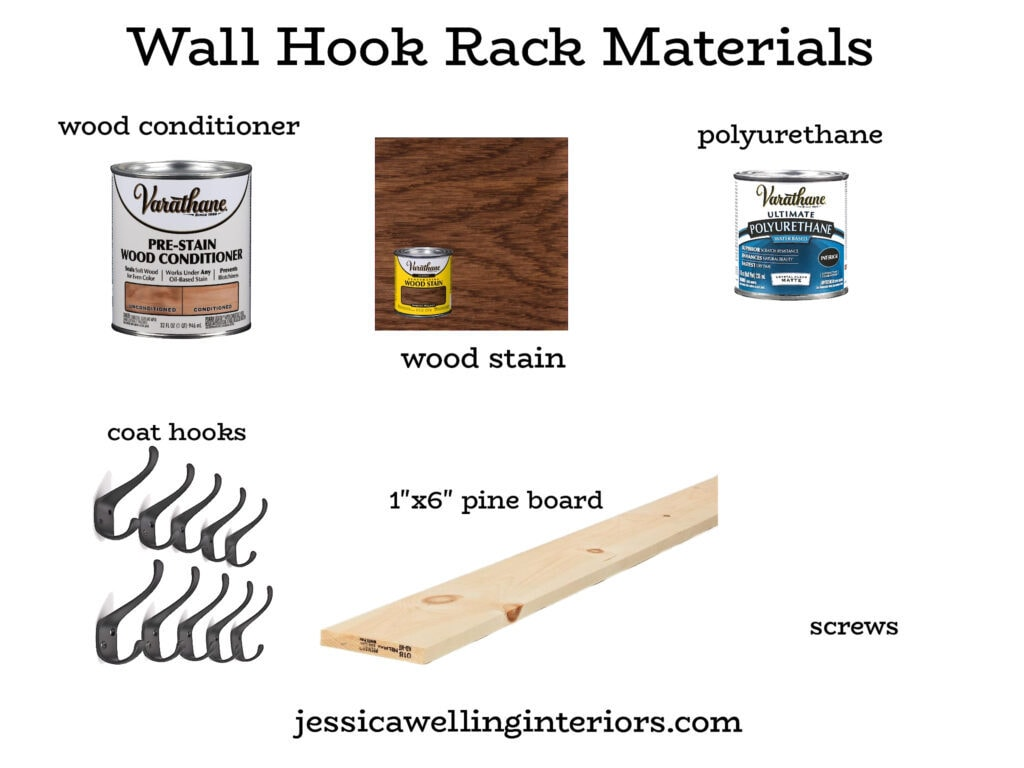 Wall Hook Rack Materials: photos of cans of wood conditioner, wood stain, boards, wall hooks, etc.