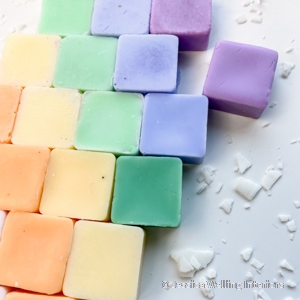 assortment of DIY soy wax melts in different colors