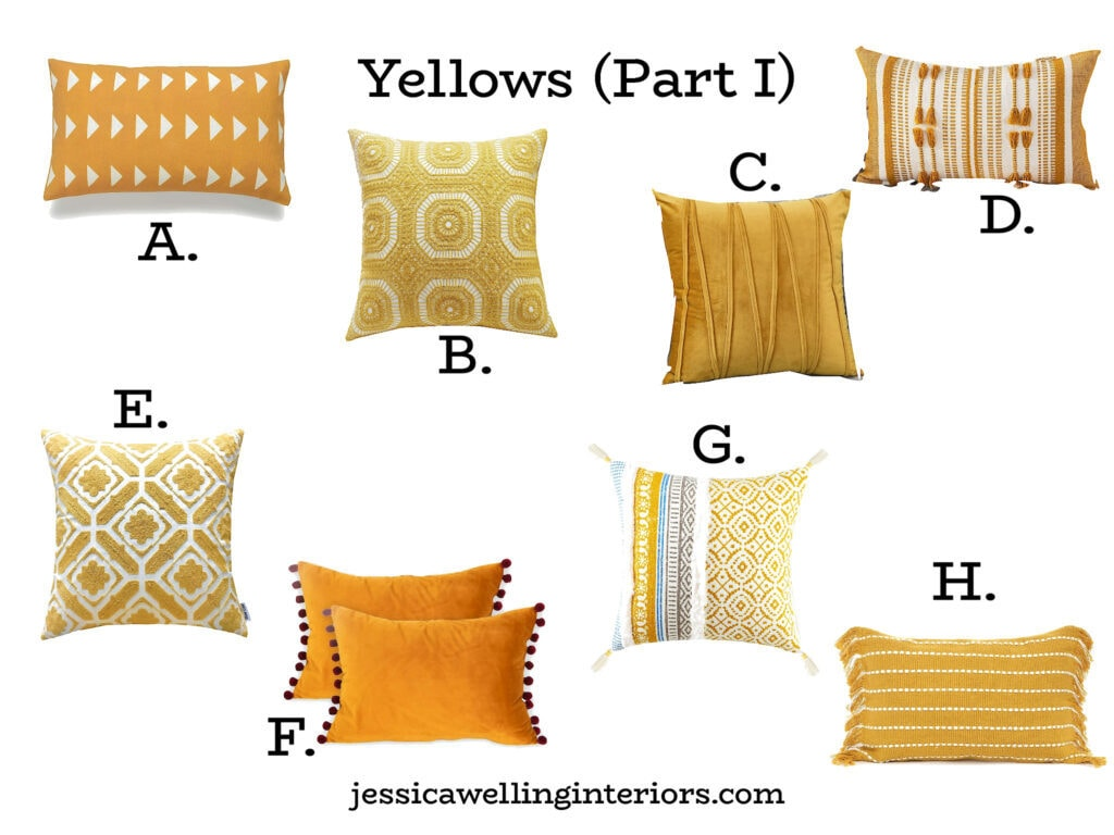 collage of yellow throw pillow covers from Amazon, numbered A-H