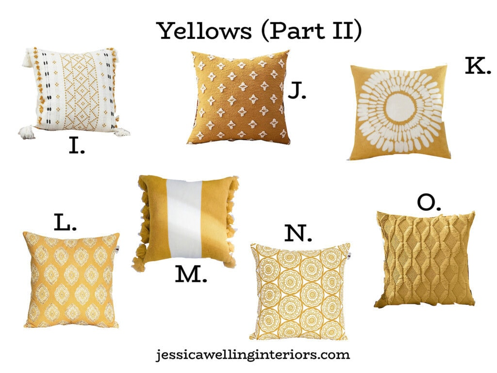 modern Boho throw pillow covers from Amazon in yellow and white