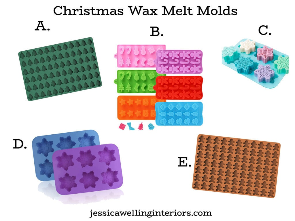 collage of wax melt molds in Christmas and holiday shapes- Christmas trees, gingerbread men, snowflakes, stockings, Santas, snowmen, etc.