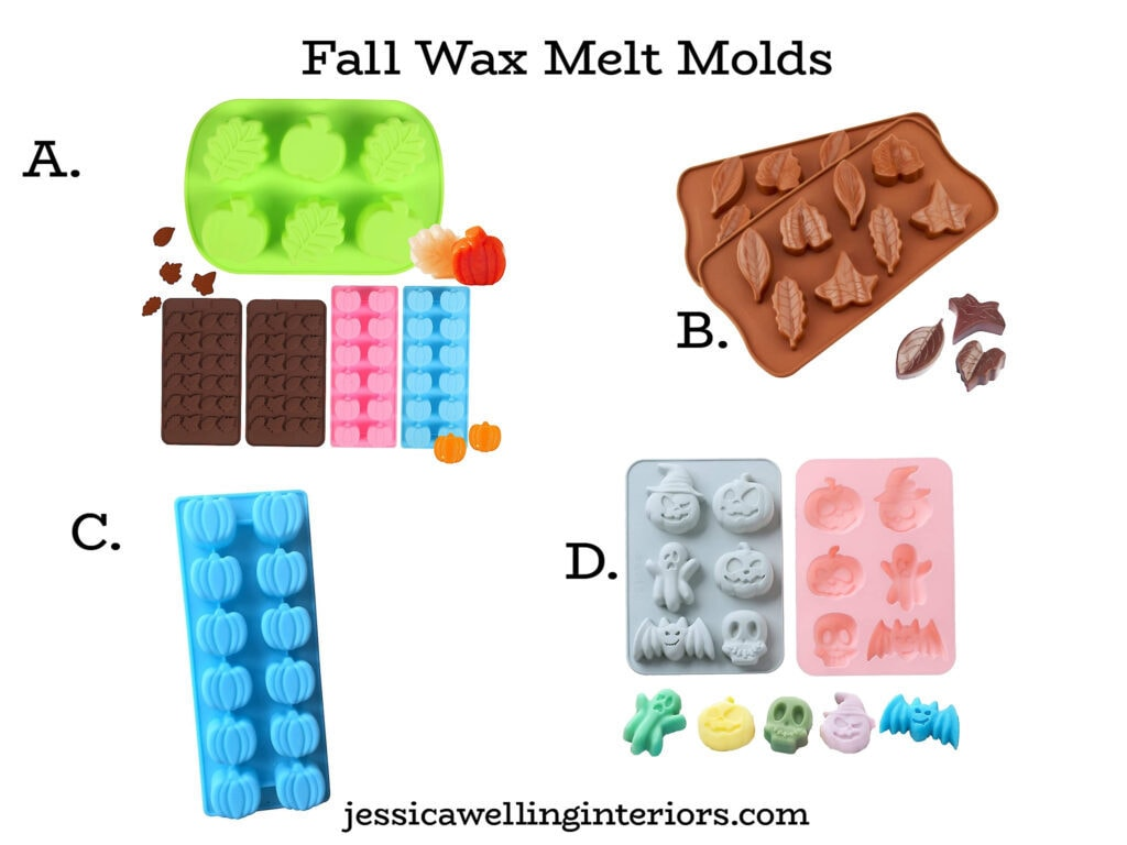 collage of wax melt molds for Fall in leaves, pumpkins, and Halloween shapes