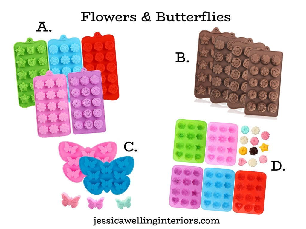 wax melt molds in flower and butterfly shapes