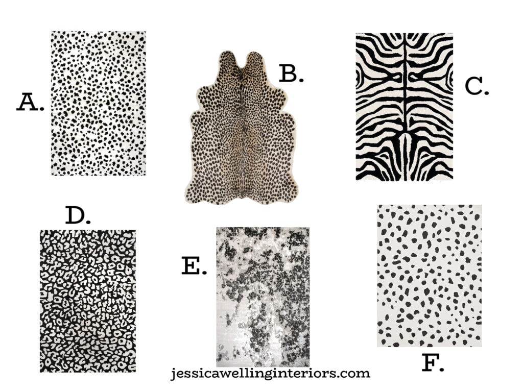 collection of Boho black and white animal print rugs in zebra, leopard spots, cheetah, dalmatian, etc.