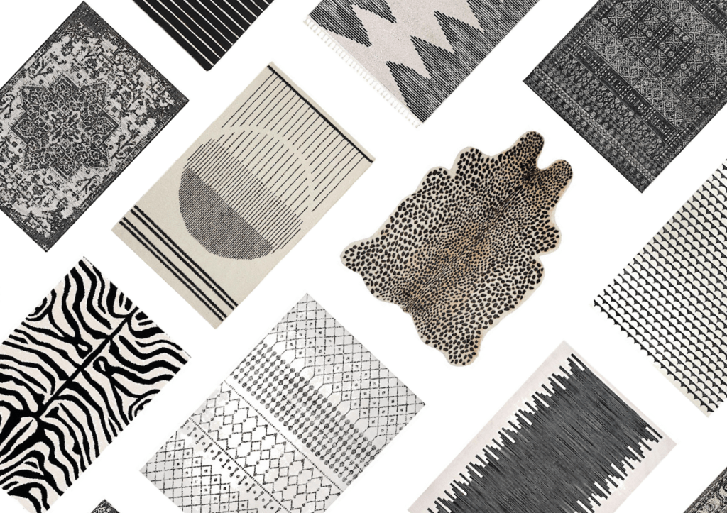 black and white area rugs in tribal patterns, oriental rugs, geometrics, etc.