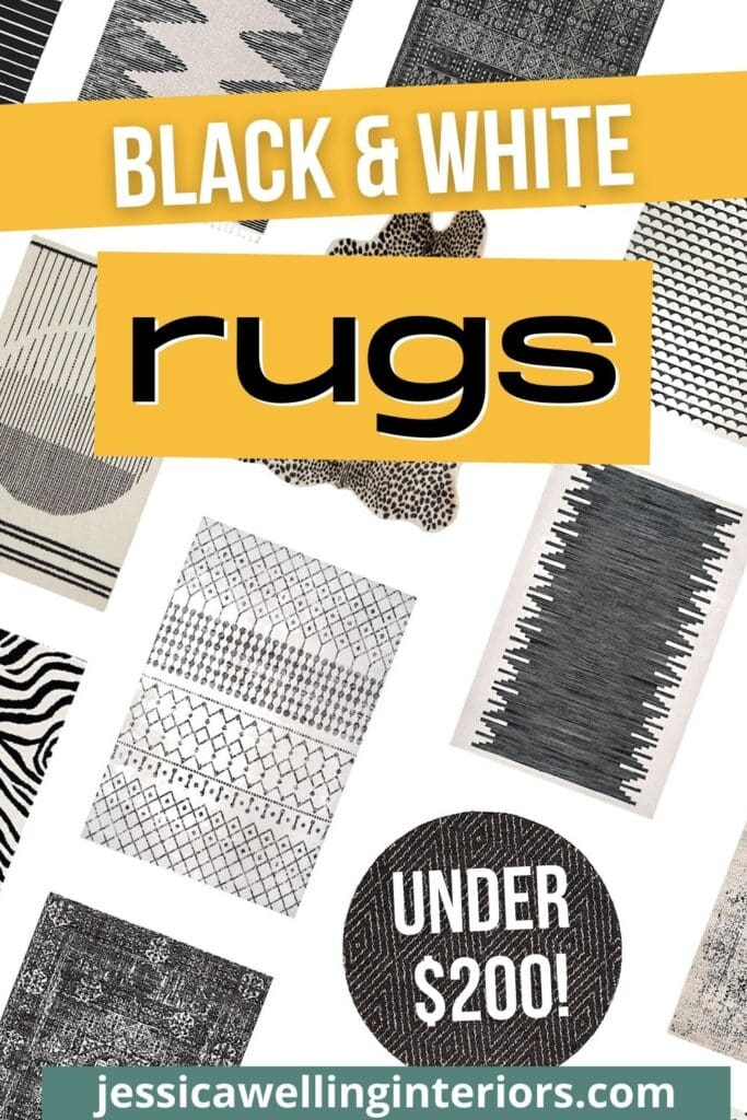 Black & White Rugs Under $200! Collage of Boho rugs in tribal patterns, oriental rugs, and geometric prints.