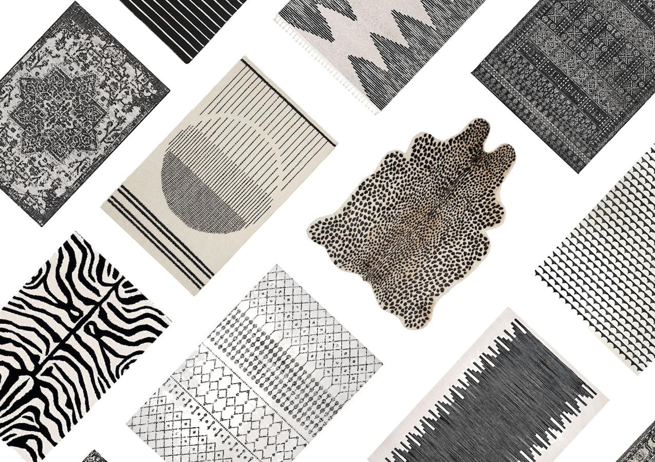 30 Inexpensive Black & White Rugs