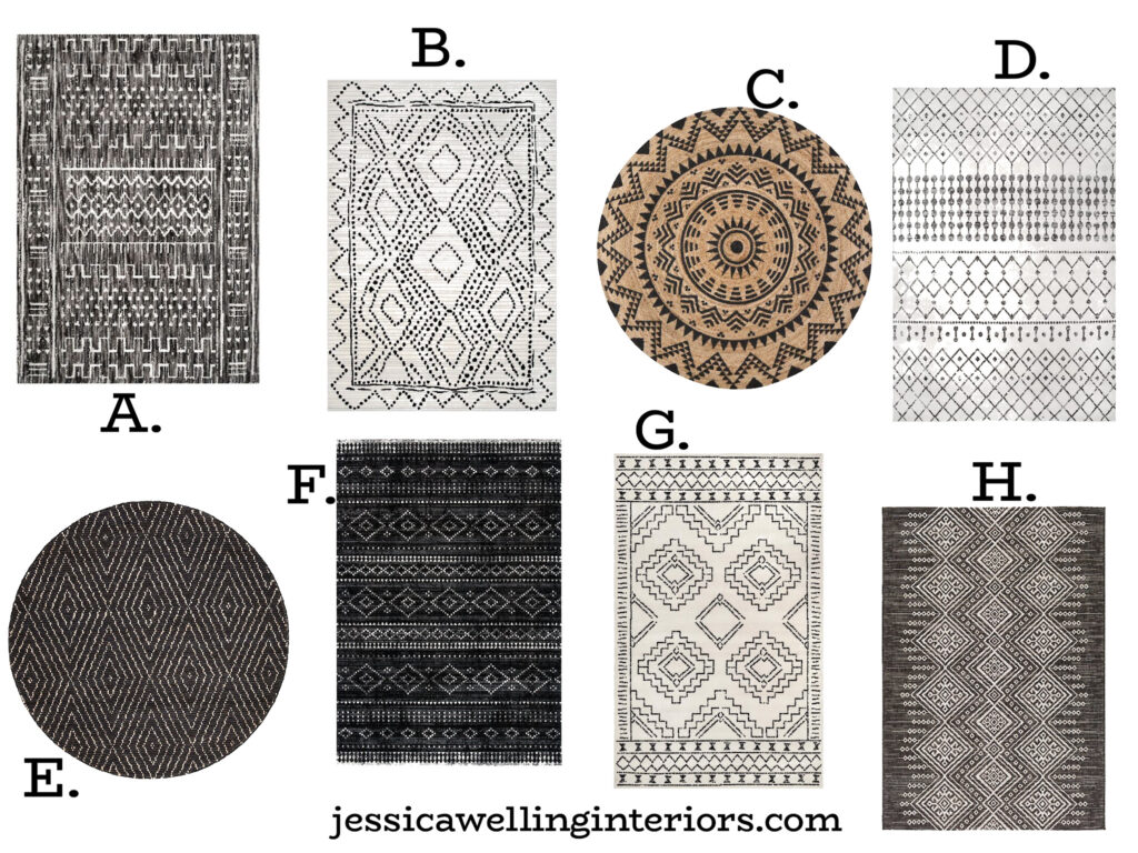 collection of modern Boho black and white tribal rugs in Moroccan patterns
