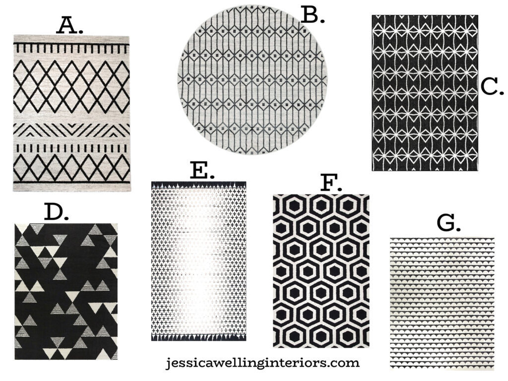 collage of black and white geometric rugs in 6x9 and 8x10 sizes