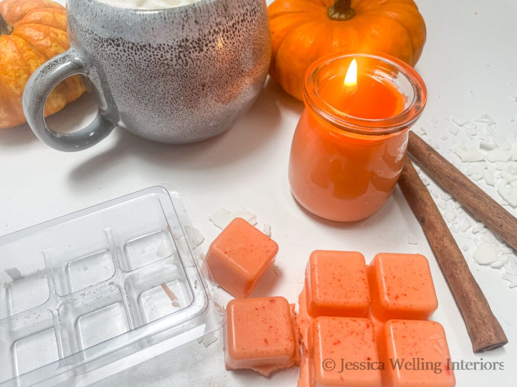 DIY pumpkin-scented candle and wax melts with a pumpkin spice latte